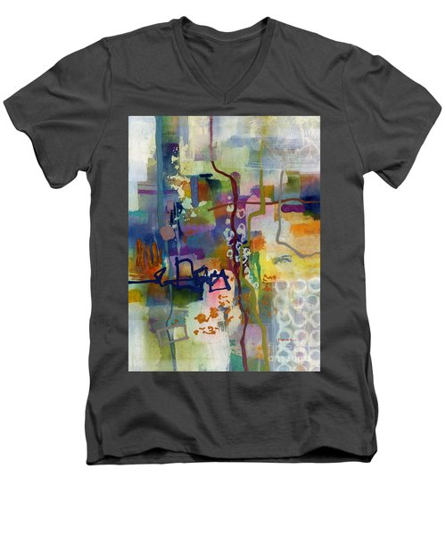 Men's V-Neck T-Shirt featuring the painting Vintage Atelier 2 by Hailey E Herrera