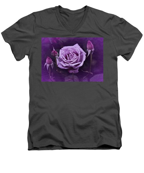 Vintage Aug Purple Rose Men's V-Neck T-Shirt
