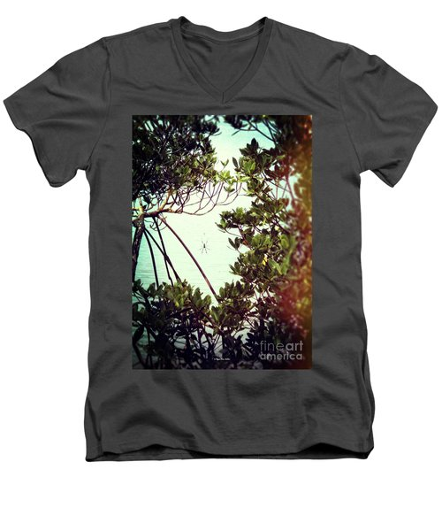 Men's V-Neck T-Shirt featuring the digital art Vintage Banana Spider by Megan Dirsa-DuBois