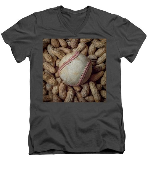 Men's V-Neck T-Shirt featuring the photograph Vintage Baseball And Peanuts Square by Terry DeLuco