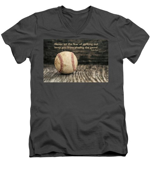 Vintage Baseball Babe Ruth Quote Men's V-Neck T-Shirt by Terry DeLuco