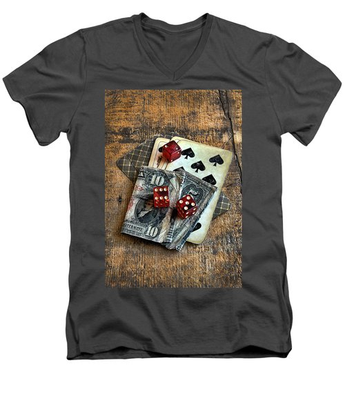 Vintage Cards Dice And Cash Men's V-Neck T-Shirt