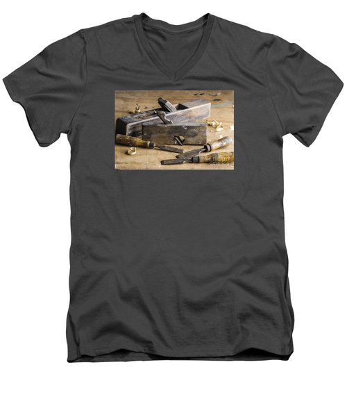 Men's V-Neck T-Shirt featuring the photograph Vintage Carpentry Bench by Trevor Chriss