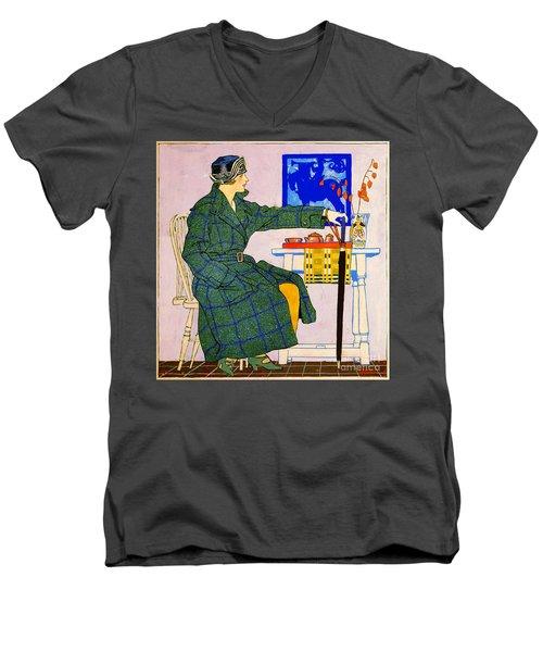 Vintage Clothing Advertisement 1910 Men's V-Neck T-Shirt by Padre Art
