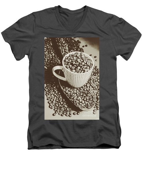Men's V-Neck T-Shirt featuring the photograph Vintage Coffee Art. Stimulant by Jorgo Photography - Wall Art Gallery