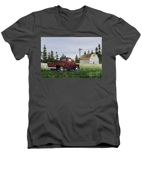 Men's V-Neck T-Shirt featuring the painting Vintage Country Pickup by James Williamson