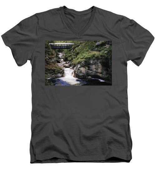 Vintage Covered Bridge And Waterfall Men's V-Neck T-Shirt by Jason Moynihan