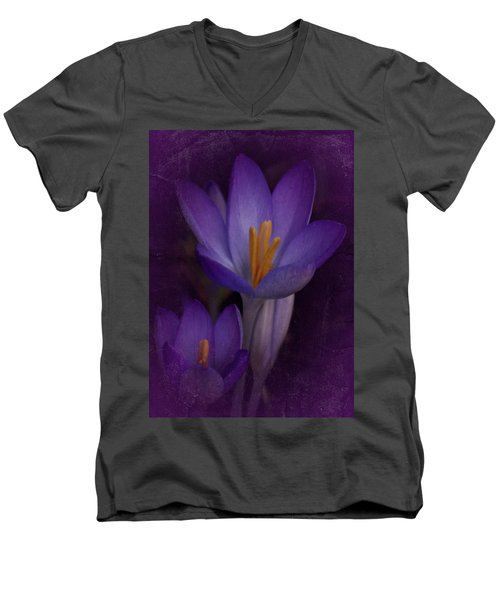 Men's V-Neck T-Shirt featuring the photograph Vintage Crocus 2017 by Richard Cummings