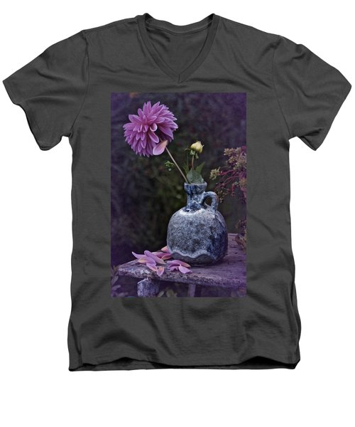 Men's V-Neck T-Shirt featuring the photograph Vintage Dahlia Still Life by Richard Cummings