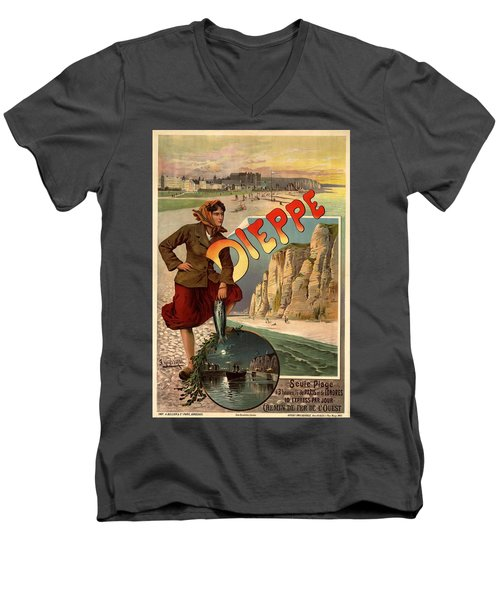 Vintage Dieppe Advertisement Men's V-Neck T-Shirt by Andrew Fare