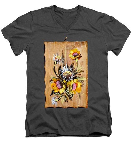 Vintage Floral Bouquet Men's V-Neck T-Shirt