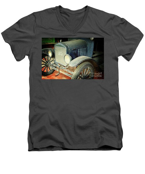 Vintage Ford Men's V-Neck T-Shirt by Inspirational Photo Creations Audrey Woods
