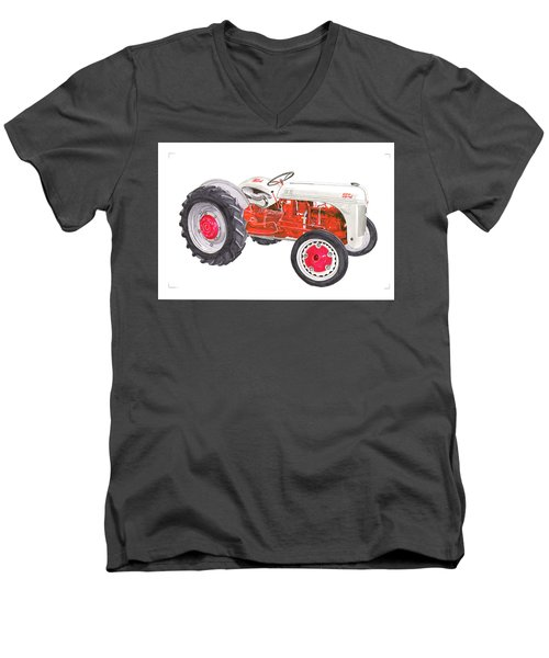 Men's V-Neck T-Shirt featuring the painting Vintage Ford Tractor 1941 by Jack Pumphrey