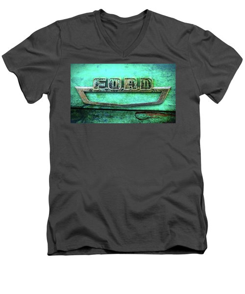 Men's V-Neck T-Shirt featuring the photograph Vintage Ford Truck Logo  by Terry DeLuco
