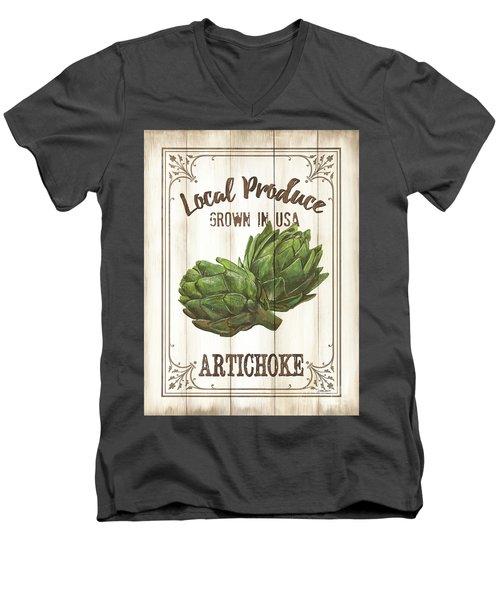 Vintage Fresh Vegetables 2 Men's V-Neck T-Shirt by Debbie DeWitt