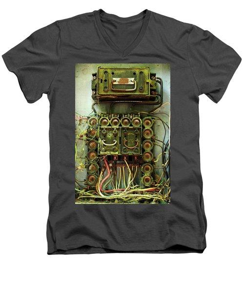 Vintage Household Fuse Box Men's V-Neck T-Shirt by Michael Eingle