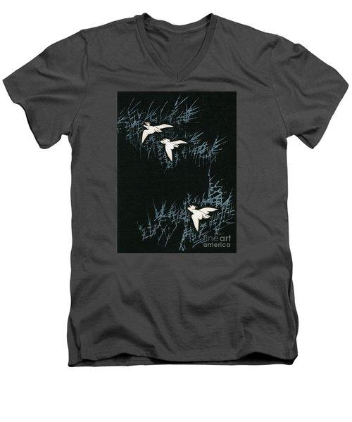 Vintage Japanese Illustration Of Three Cranes Flying In A Night Landscape Men's V-Neck T-Shirt