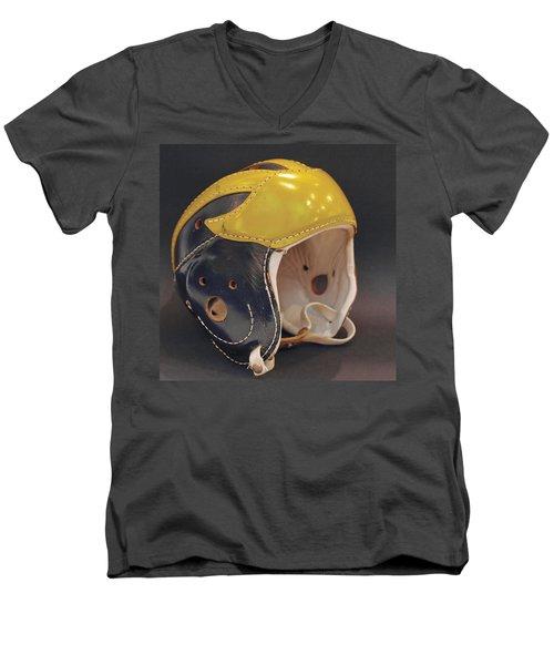 Vintage Leather Wolverine Helmet Men's V-Neck T-Shirt