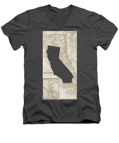 Men's V-Neck T-Shirt featuring the drawing Vintage Map Of California Phone Case by Edward Fielding