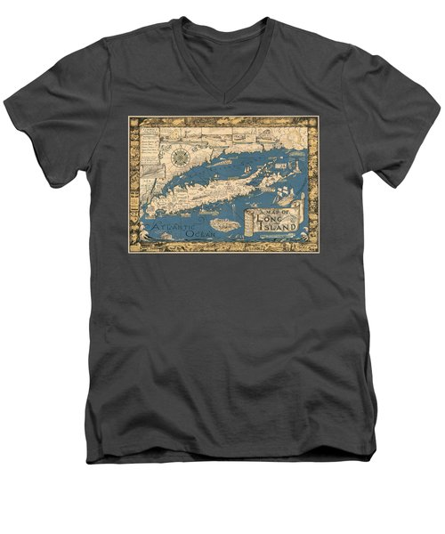 Vintage Map Of Long Island Men's V-Neck T-Shirt by James Kirkikis