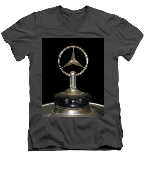 Men's V-Neck T-Shirt featuring the photograph Vintage Mercedes Radiator Cap by David and Carol Kelly