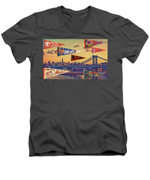 Vintage New York Mets Men's V-Neck T-Shirt by Steven Parker