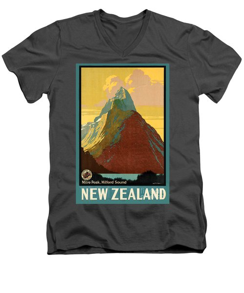 Vintage New Zealand Travel Poster Men's V-Neck T-Shirt