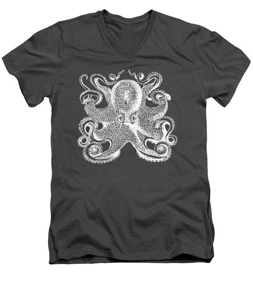Men's V-Neck T-Shirt featuring the digital art Vintage Octopus Illustration by Edward Fielding