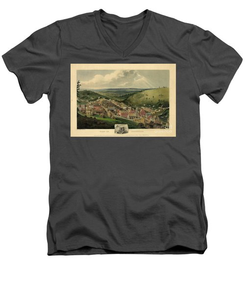 Men's V-Neck T-Shirt featuring the photograph Vintage Pottsville Pennsylvania Etching With Remarque by John Stephens