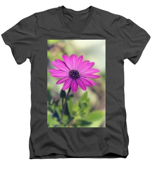 Men's V-Neck T-Shirt featuring the photograph Vintage Purple Daisy  by Saija Lehtonen