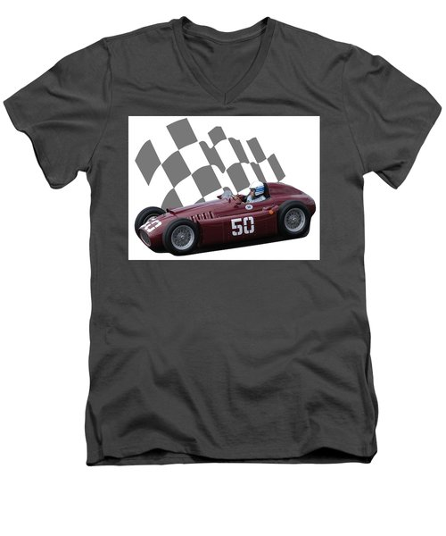 Vintage Racing Car And Flag 1 Men's V-Neck T-Shirt by John Colley