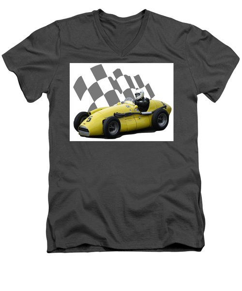 Vintage Racing Car And Flag 4 Men's V-Neck T-Shirt by John Colley