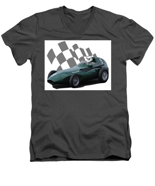 Vintage Racing Car And Flag 5 Men's V-Neck T-Shirt by John Colley