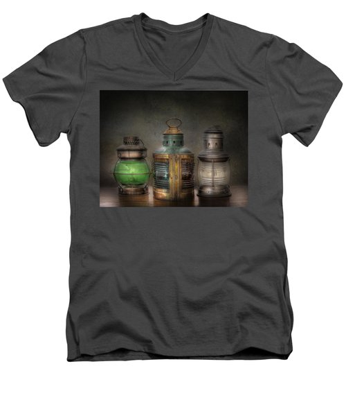 Vintage Railroad Oil Lamps Men's V-Neck T-Shirt by David and Carol Kelly