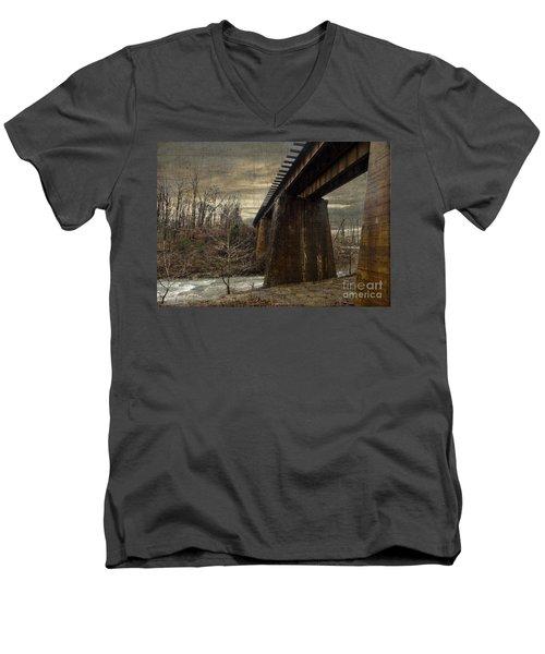 Vintage Railroad Trestle Men's V-Neck T-Shirt by Melissa Messick