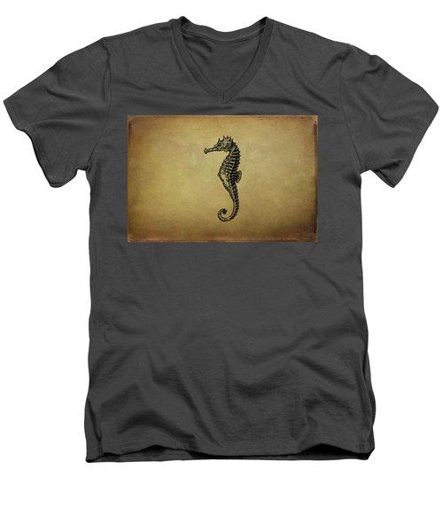 Vintage Seahorse Illustration Men's V-Neck T-Shirt