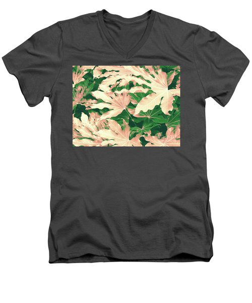 Men's V-Neck T-Shirt featuring the photograph Vintage Season Pink by Rebecca Harman