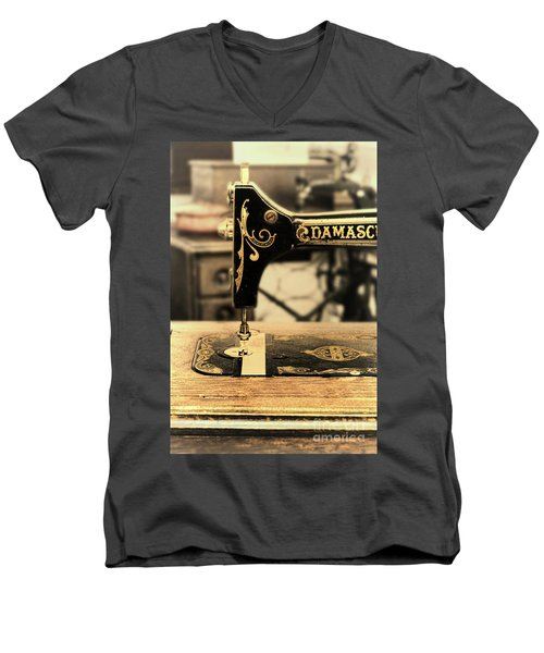 Men's V-Neck T-Shirt featuring the photograph Vintage Sewing Machine by Jill Battaglia