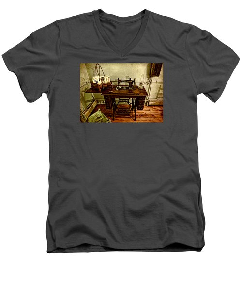 Vintage Singer Sewing Machine Men's V-Neck T-Shirt by Judy Vincent