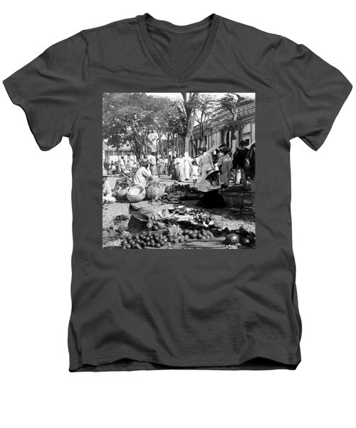 Vintage Street Scene In Ponce - Puerto Rico - C 1899 Men's V-Neck T-Shirt by International  Images