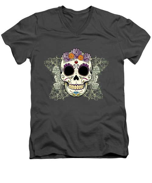 Vintage Sugar Skull And Flowers Men's V-Neck T-Shirt by Tammy Wetzel