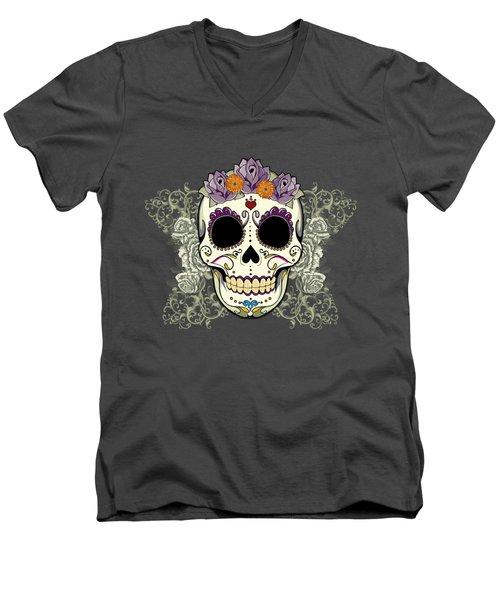 Vintage Sugar Skull And Flowers Men's V-Neck T-Shirt