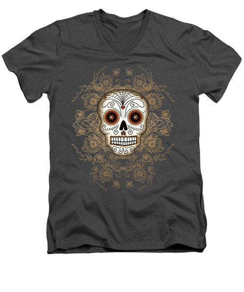 Vintage Sugar Skull Men's V-Neck T-Shirt