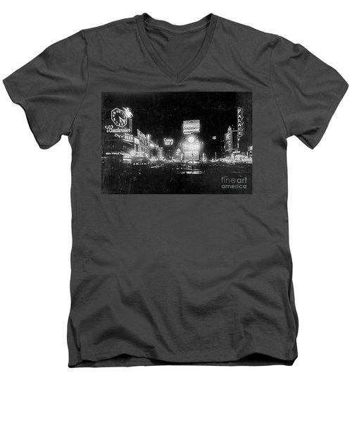 Vintage Times Square At Night Black And White Men's V-Neck T-Shirt by John Stephens