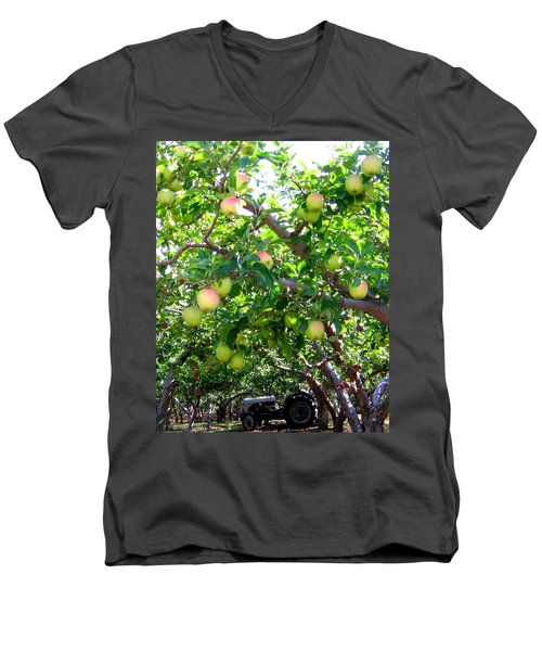 Vintage Tractor In Apple Orchard Men's V-Neck T-Shirt by Will Borden