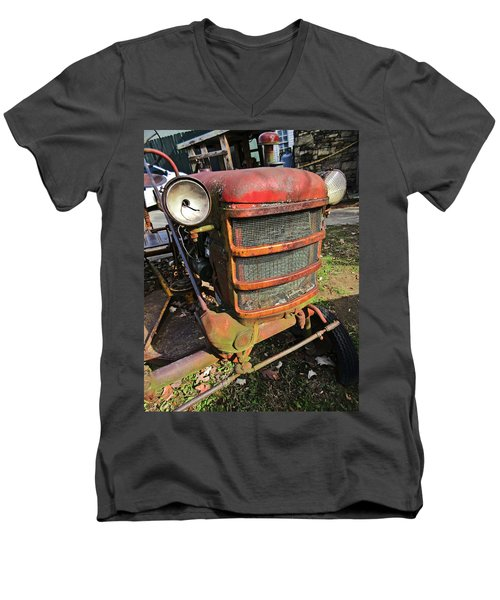 Vintage Tractor Mower Men's V-Neck T-Shirt