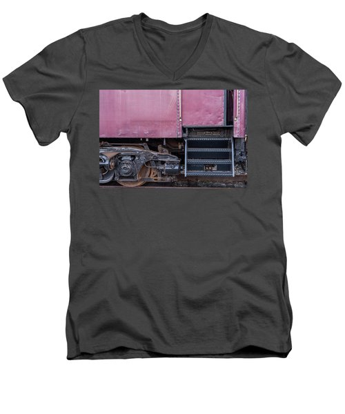 Men's V-Neck T-Shirt featuring the photograph Vintage Train Car Steps by Terry DeLuco