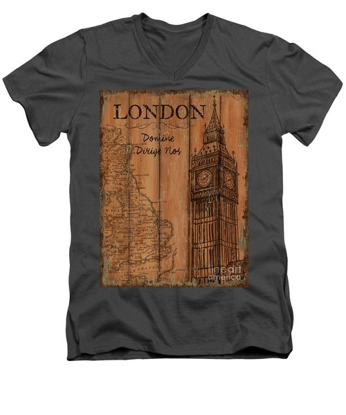Men's V-Neck T-Shirt featuring the painting Vintage Travel London by Debbie DeWitt