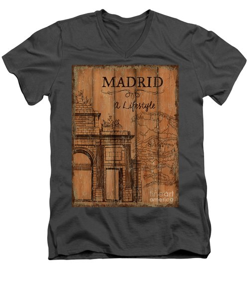 Men's V-Neck T-Shirt featuring the painting Vintage Travel Madrid by Debbie DeWitt