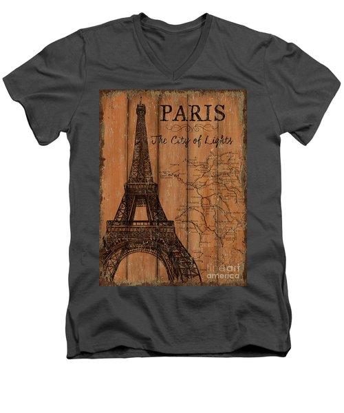 Men's V-Neck T-Shirt featuring the painting Vintage Travel Paris by Debbie DeWitt